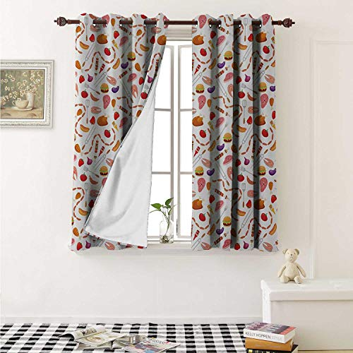 Price comparison product image BBQ Party Blackout Draperies for Bedroom Grilling Themed Food Elements Hamburger Hotdog Steak and Sausage Pattern Cooking Curtains Kitchen Valance W72 x L63 Inch Multicolor
