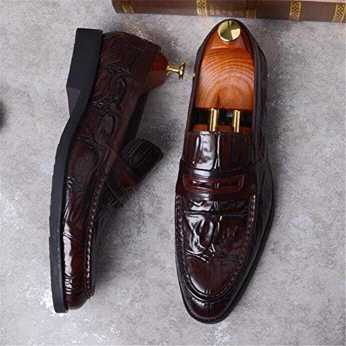 Cuero Marrón Slip Borla Brogue Business On Vestido Genuino Smart Holgazanes 38 Negro Coffee De Boda Talla 45 Hombre Formal A Zapatos qPZwESx