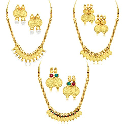 VVS Jewellers Gold Plated Traditional Indian Bollywood Big Diwali Sale 3 Combo Coin Necklace Set by VVS Jewellers