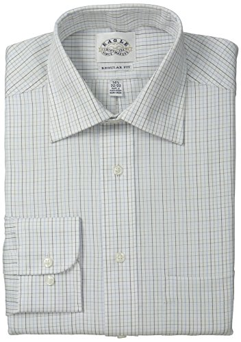 Eagle Men's Regular Fit Non Iron Grid Check, White/Multi, 15