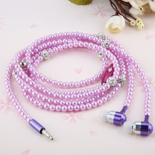 Ranipobo Luxury Bling Diamond Pearl Necklace Chain Earphone Stereo Earphone With Mic For Smart Phone/iphone 3.5mm Plug (Purple)