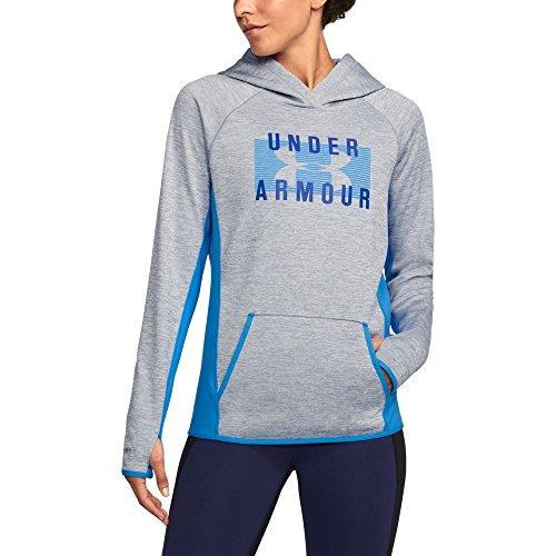 Steel Womens Sweatshirt - Under Armour Women's Twist Fleece Block Hoodie, Steel (037)/Lapis Blue, Large