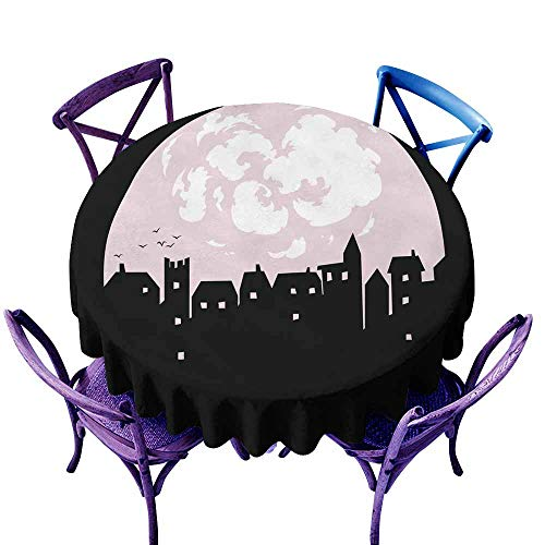 Fashions Table Cloth Mystery town silhouette with moon birds houses windows and clouds i Modern Minimalist n the sk 63 INCH y vector illustration Night city for postcard helloween greeting -
