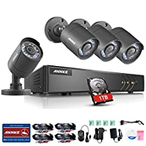 ANNKE 8CH 720P Surveillance Camera System HD 1080P Lite TVI DVR Recorder w/ 4x 720P White Dome Camera, All-weather Adaptation, Email Alert with Images with 1TB Hard Drive