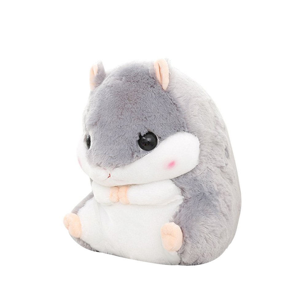 Crazy lin Baby Kids Animals Stuffed Doll Soft Plush 1 Hamster Throw Pillow With 1 Blanket (Hamster:15.811.8 inch, Grey)