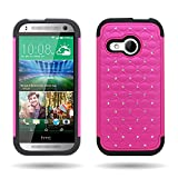 For HTC One Remix / HTC One Mini 2 Hybrid Diamond Dual Layer Case by CoverON®- Hard Plastic + Soft Silicone (Rose Pink / Black)