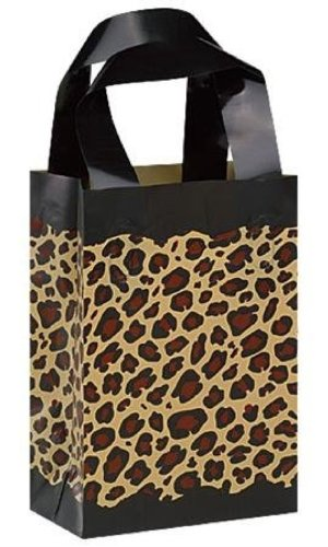 Lot of 10 Leopard Print Birthday Party Goody Bag Small Frosted Plastic Gift Bags 5