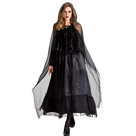 XRQ Disfraz de Bruja Negra de Terror para Adultos de Halloween ...