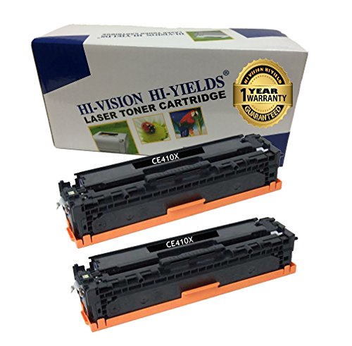HI-VISION 2 Pack Compatible HP 305X, CE410X High Yield Black Toner Cartridge Replacement for LaserJet Pro 400 color MFP M475dn, MFP M475dw, M451dn, M451nw, M451dw, LaserJet Pro 300 color MFP M375nw