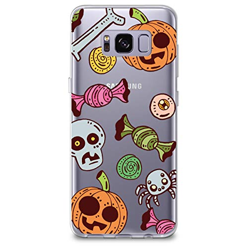 CasesByLorraine Samsung S8 Case, Halloween Pumpkins Candy Clear Transparent Case Flexible TPU Soft Gel Protective Cover for Samsung Galaxy S8 (2017) (A100)]()