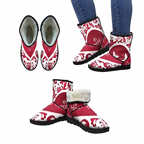 InterestPrint Womens Snow Boots Valentines Day Artistic Design With Floral Heart Shape Unique Designed Comfort Winter Boots Multi 1 RWmZv1Gz2
