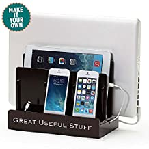 G.U.S. Personalized Monogrammed Multi-Device Charging Station Dock & Organizer - Multiple Finishes Available. For Laptops, Tablets, and Phones - Strong Build, High Gloss Cherry