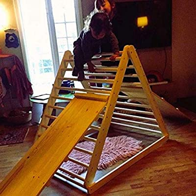 HomeForDreams Climbing Triangle, Baby Climber, Climbing Ladder for Toddler, Pikler Triangle, Step Triangle, (Triangle + Ladder/Slide Board): Toys & Games
