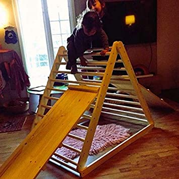 Climbing Ladder for Toddler Triangle + Ladder//Slide Board Step Triangle, Baby Climber HomeForDreams Climbing Triangle Pikler Triangle