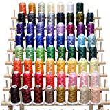 63 Brother Colors Embroidery Machine Thread Set 120D/2 40weight for Brother Babylock Janome Singer Pfaff Husqvarna...