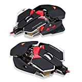 USB Combaterwing CW-80 4800 DPI Adjustable Optical USB Wired Professional Gaming Mouse with 10 Buttons Programmable,User-defined RGB Breathing LED light