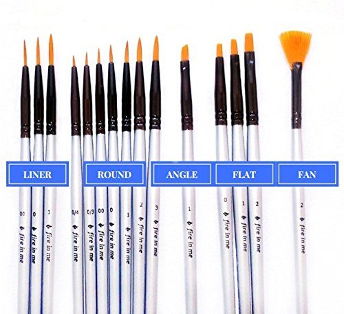 Premium Fine Detail Paint Brush Set of 15 pcs Synthetic Small Miniature Brushes for Face Painting, Art Painting, Models, Nail Art - Ideal for Use with Acrylic, Watercolor, Oil - - Face Model Round