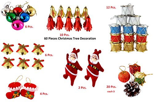 Elite Store Christmas Tree Decorative Hanging Ornaments Set of 60 Pieces for Christmas Tree Decorations