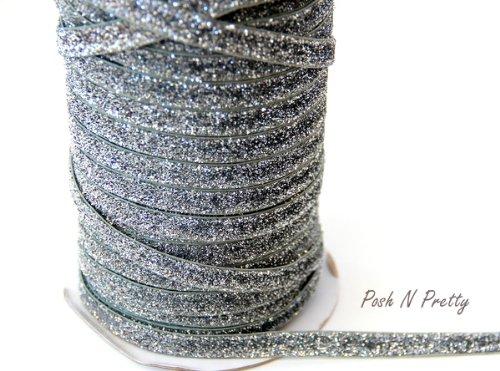 5 YARDS 3/8 Glitter Stretch Velvet Elastic Metallic NO FLAKE Trim- SILVER (Glitter Stretch Velvet)