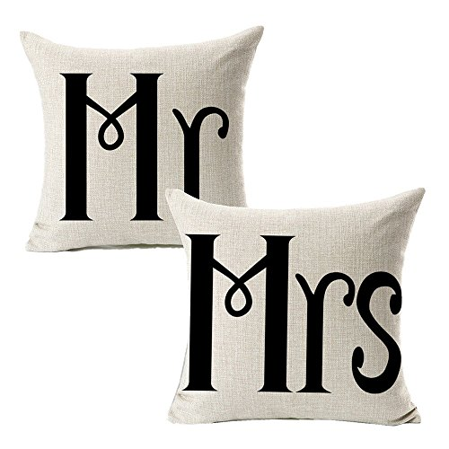 (All Smiles Cotton linen Mr Mrs Home Decor Throw Pillow Case Cushion Covers Pillowcase for Couples Wedding Decorative Square Couch sofa 18x18,Set of)