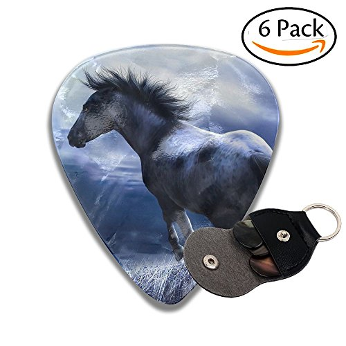 Guitar Picks Plectrums 6-pack 0.46mm / 0.71mm / 0.96mm Horse Oil Paintings Classic Celluloid Bass Ukulele