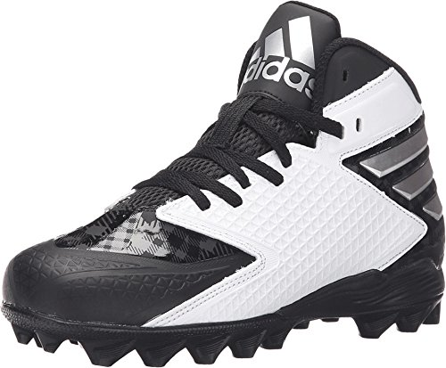 Patent Adidas Leather - adidas Kids Boy's Freak MD J Football (Little Kid/Big Kid) Black/Platinum/White Sneaker 1.5 Little Kid M