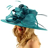 SK Hat shop British Regal Sinamy Ribbon Feathers Quill Derby Floppy Bucket Dressy Hat Teal