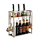 Stainless Steel Kitchen Racks Tool Seat Storage Rack Standing Spice Rack (Size : 4040cm)