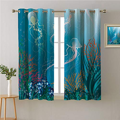 Jinguizi Aquarium Artistic Jellyfishes Swimming Under The Sea Coral Reef Plants Oceanic Fauna Grommet Curtain for Living Room,,Soft Darkening Curtains,72W x 45L