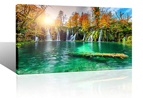 - Large Canvas Wall Art for Living Room Green Lake Sunshine Tree Nature Wildlife Landscape Picture Wall Decor Modern Framed Canvas Prints Artwork Ready to Hang for Bedroom Home Wall Decoration 24x48