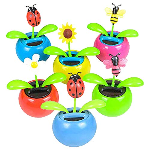 Mini Solar Flower and Bugs - Pack of 6 Solar Powered Dancing Flower, Bugs and Bees - Educational Gifts and Giveaways, Decorations at Homes, Offices, Car Dashboard, Schools, Clinics ()