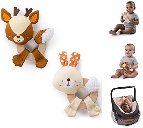 NEW! Set of 2: Bright Starts - CLUTCH & HOLD WOOD TOY - Natural Wood, Soft Fabrics, BPA-Free (Colors May Very)