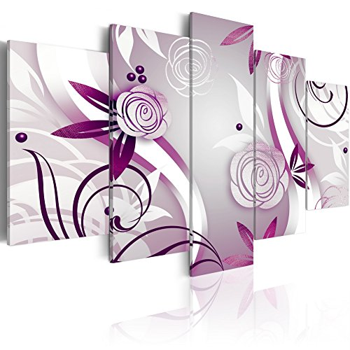 Purple Flower Painting Canvas Wall Art 5 panels Abstract Violet