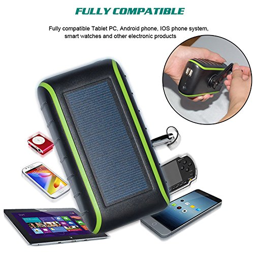 CXYP Solar Charger , 5400 mAh Hand Crank Solar Power Bank with Solar Panels Dual USB Outdoor Portable Battery with LED Light for iPhone X /7 /8 Plus Samsung Android Telephone (Black) - Wind Up Charger