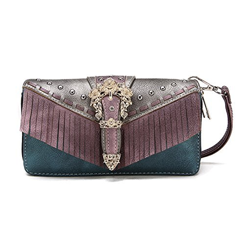 Cowgirl Trendy Buckle Fringe Zip Around Leather Wristlet Wallet (Purple Silver) (Media Dual Coin)
