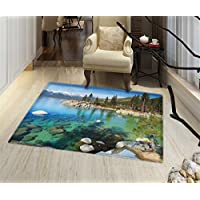 Lake Tahoe Bath Mats for floors Scenic American Places Mountains with Snow Rocks in the Lake California Summer Door Mat indoors Bathroom Mats Non Slip 18x30 Multicolor