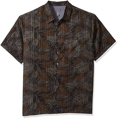 Van Heusen Men's Big Tall Oasis Printed Short Sleeve Shirt, Black, 4X-Large