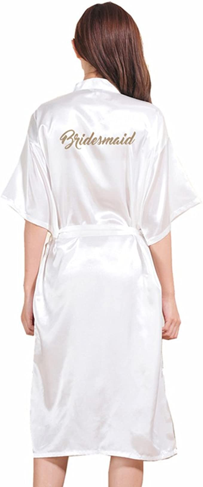BOYANN Maid of Honor Gold Stamping Dressing Gowns Satin Kimono Robe