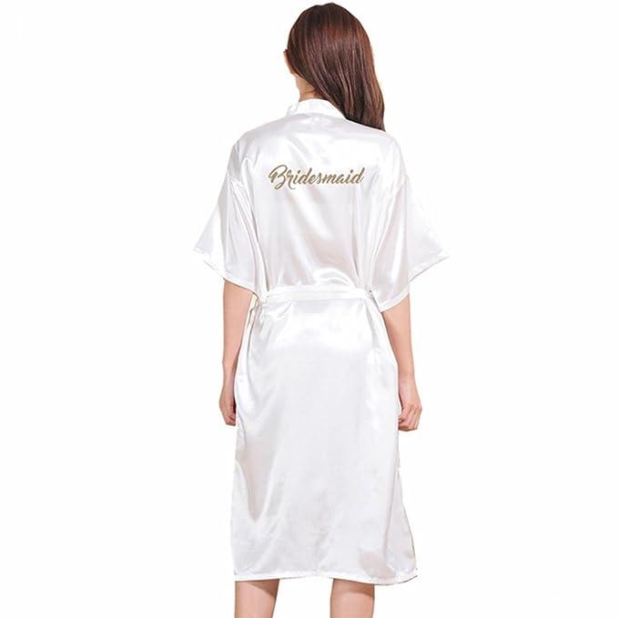 WYSMOL Dama de Honor Estampado en Caliente Ropa de Dormir Sexy Batas y Kimonos de Satén: Amazon.es: Ropa y accesorios
