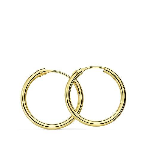 4496202377db Aros oro amarillo 18k Morgana 16mm - Pendientes de mujer