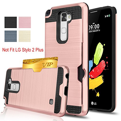 Lg Stylo 2 Stylus 2 Stylo 2V G Stylo 2 Case Anoke  Card Slots Holder  Not Wallet  Hard Silicone Rubber Hybrid Armor Shockproof Protective Holster Case For K540 Ls775 Vs835 Kls Rose Gold