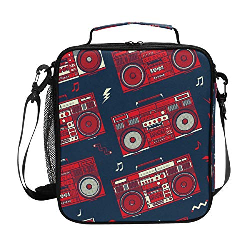 Retro Pop Boombox Radio 80S Lunch Box Tote Reusable Insulated School Cooler Bag for Women Kids