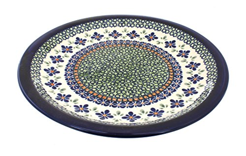 Blue Rose Polish Pottery Mosaic Flower Dinner Plate