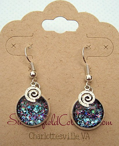 80's Teacher Costume (Silver-tone Blue Purple Pink Glitter Glass Swirl Charm Dangle Earrings)