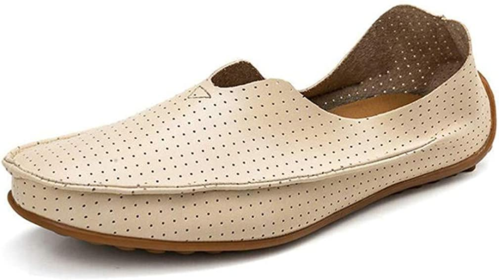 Hollow Out Breathable Summer Split Leather Casual Shoes Men Lovers Couple Flat Loafer Shoes,102 Beige,13