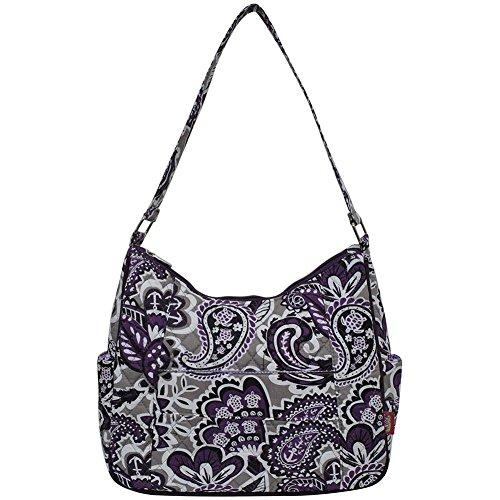 Ngil Quilted Cotton Hobo Shoulder Bag (Paisley Park Purple)