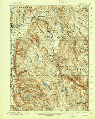 (YellowMaps Becket MA topo map, 1:62500 Scale, 15 X 15 Minute, Historical, 1897, Updated 1938, 19.8 x 15.8 in - Polypropylene)