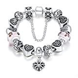 "Bamoer Christmas Gift Pink Butterfly Lampwork Glass Bead Charm Bracelets for Teen Girls Women 7.08""/7.87""/8.26"""