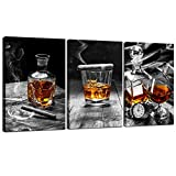 sechars - Canvas Prints Wall Art,Cigar Whisky Canvas Wall Art,Liquor Still Life Painting Picture Giclee Print on Canvas,Framed and Ready to Hang,Modern Kitchen Room Pub Wall Decor - 48'x24'overal