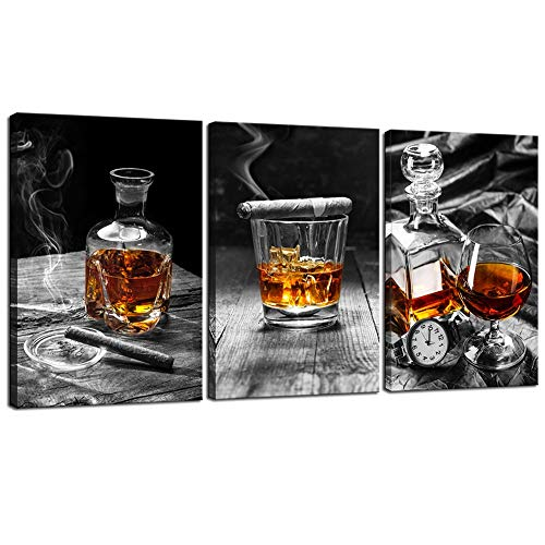 sechars - Canvas Prints Wall Art,Cigar Whisky Canvas Wall Art,Liquor Still Life Painting Picture Giclee Print on Canvas,Framed and Ready to Hang,Modern Kitchen Room Pub Wall Decor - 48